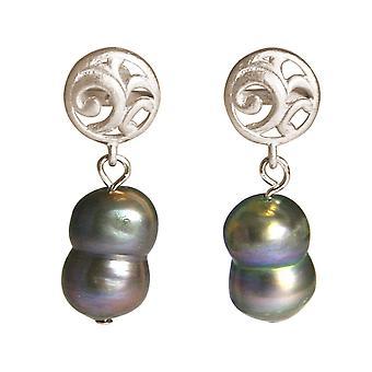 GEMSHINE Earrings Baroque Cultured Beads 925 Silver or Gilded - Tahiti Grey
