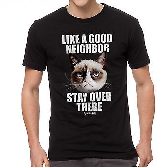 Norse kat goede buur mannen zwart grappig T-shirt