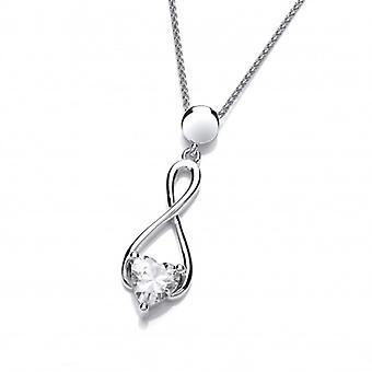"""Cavendish French Silver and Cubic Zirconia Heart Celtic Twist Pendant with a 16-18"""" chain"""
