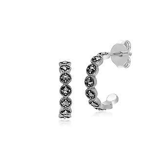 Geometric Round Marcasite Half Hoop Earrings in 925 Sterling Silver 214E873301925