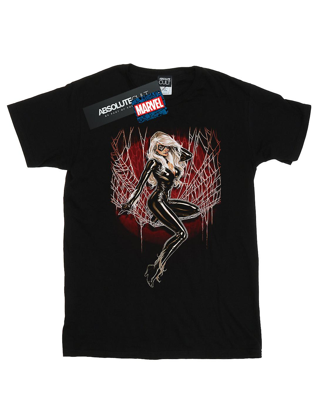 Marvel Women's Black Cat Spider Web Boyfriend Fit T-Shirt