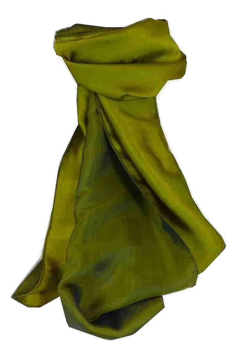 Vietnamese Cham-Pa Reversible Long Silk Scarf Teal & Olive by Pashmina & Silk