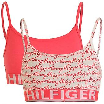 Tommy Hilfiger Girls 2 Pack Bold Bralette, Rouge Red / Logo Print, X-Large
