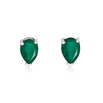 LXR 14k hvidguld smaragd pæreformede øreringe 0,4ct