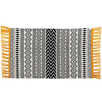 Sass & Belle Scandi Boho Yellow Tassel Cotton Rug