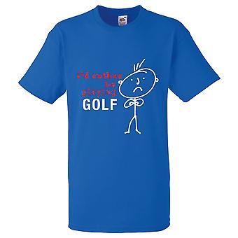 Мужская я бы скорее играть гольф Королевская синяя футболка