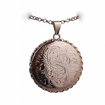 9ct Rose Gold 31mm mano inciso filo ritorto bordo rotondo medaglione con un belcher catena 24 pollici