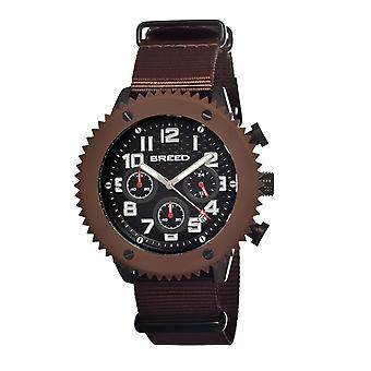 Breed Decker Nylon-Band Chronograph Men's Watch-Brown