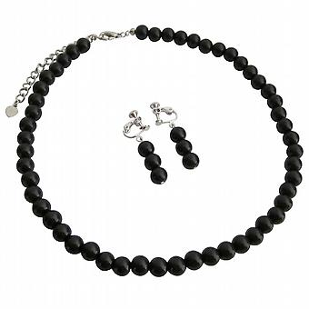 Looking For Clip On Earrings Black Pearls Necklace Set