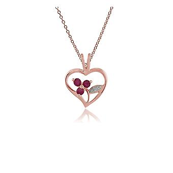 Floral Round Ruby Heart Pendant Necklace in Rose Gold Plated 925 Sterling Silver 253P231401925