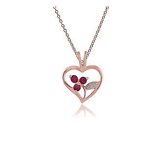 floral runde rubin hjerte anheng halskjede i rose gullbelagt 925 sterling sølv 253P231401925