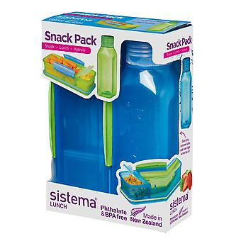 Sistema Snack Pack, Lunch Box and Water Bottle Set, Blue
