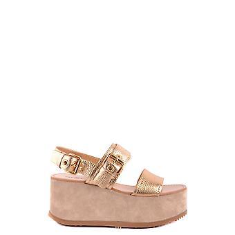 Car Shoe Ezbc029016 Women's Gold Leather Wedges