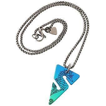 Ti2 Titanium Cave Diving Line Arrow Pendant - Blue/Green