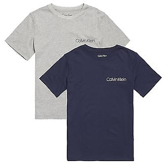 Calvin Klein Boys 2 Pack Perforate Short Sleeved Crew Neck T-Shirt, Heather Grey / Blue Shadow, Medium