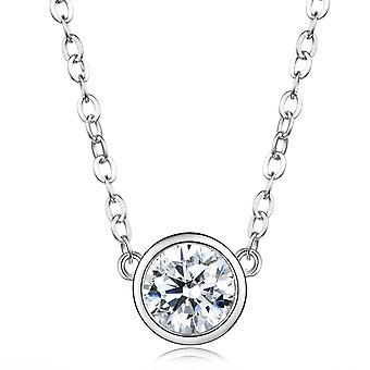 925 Sterling sølv Bezel runde Cut Aaaaa Cz vedhæng halskæde