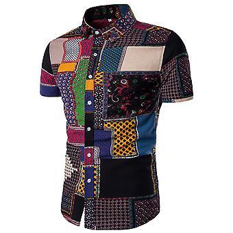Allthemen Men es Short Sleeve Shirt Cotton Floral Casual Shirt