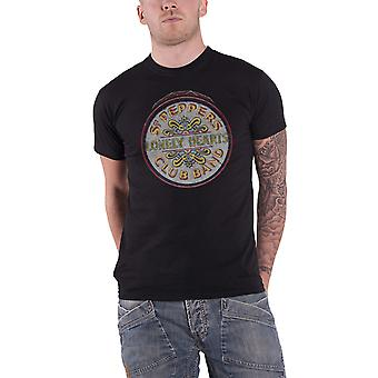 The Beatles T Shirt Original Sgt Pepper Drum Band Logo Official Mens New Black