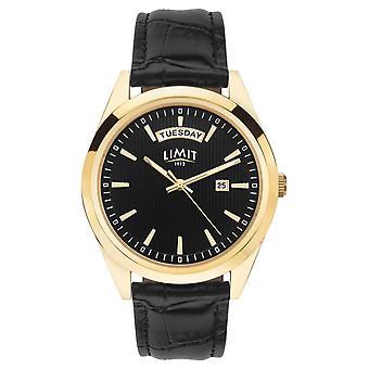 Limiet | Mens zwart lederen band | Zwarte wijzerplaat | Gouden geval | 5750,01 horloge
