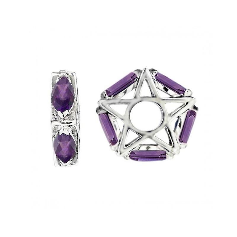 Storywheels Silver & Amethyst Star Wheel Charm S046A