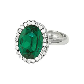 Eternal Collection Countess Oval Emerald Green Crystal Silver Tone Costume Ring