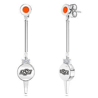 Oklahoma State University Engraved Sterling Silver Diamond Dangle Earrings In Orange