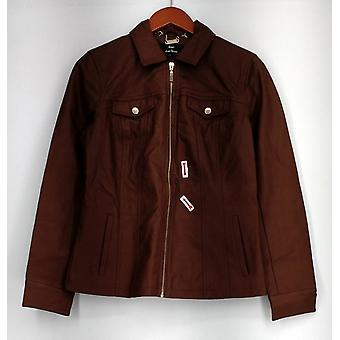 Dennis Basso Faux Leather Jacket Long Sleeves Brown A268810