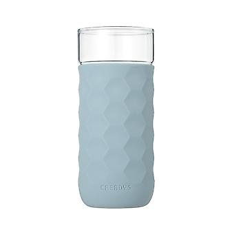 Honeycomb Anti-skid Glass with Silicone Sleeve 380ml in Blue