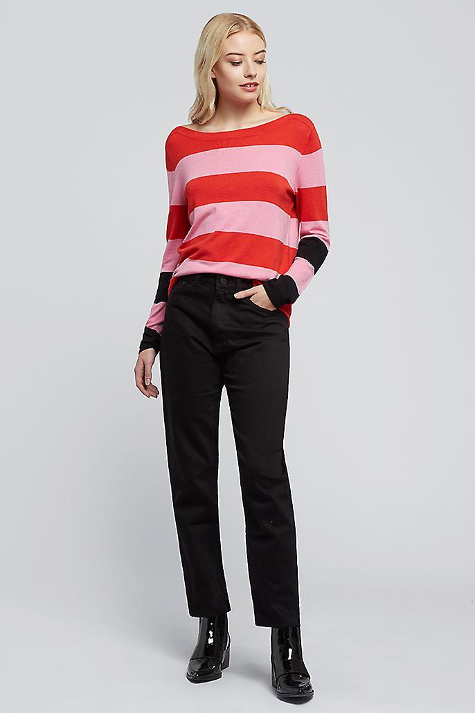 JDY Max Two Tone Stripe Jumper Pink
