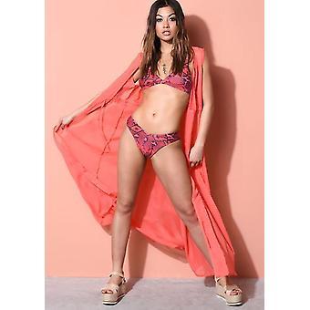 Sleeveless Cover Up Maxi Beach Kimono Coral Pink