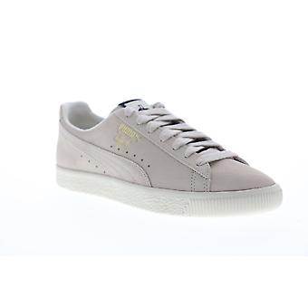 Puma Clyde Fedora Mens Beige Suede Low Top Lace Up Sneakers Shoes