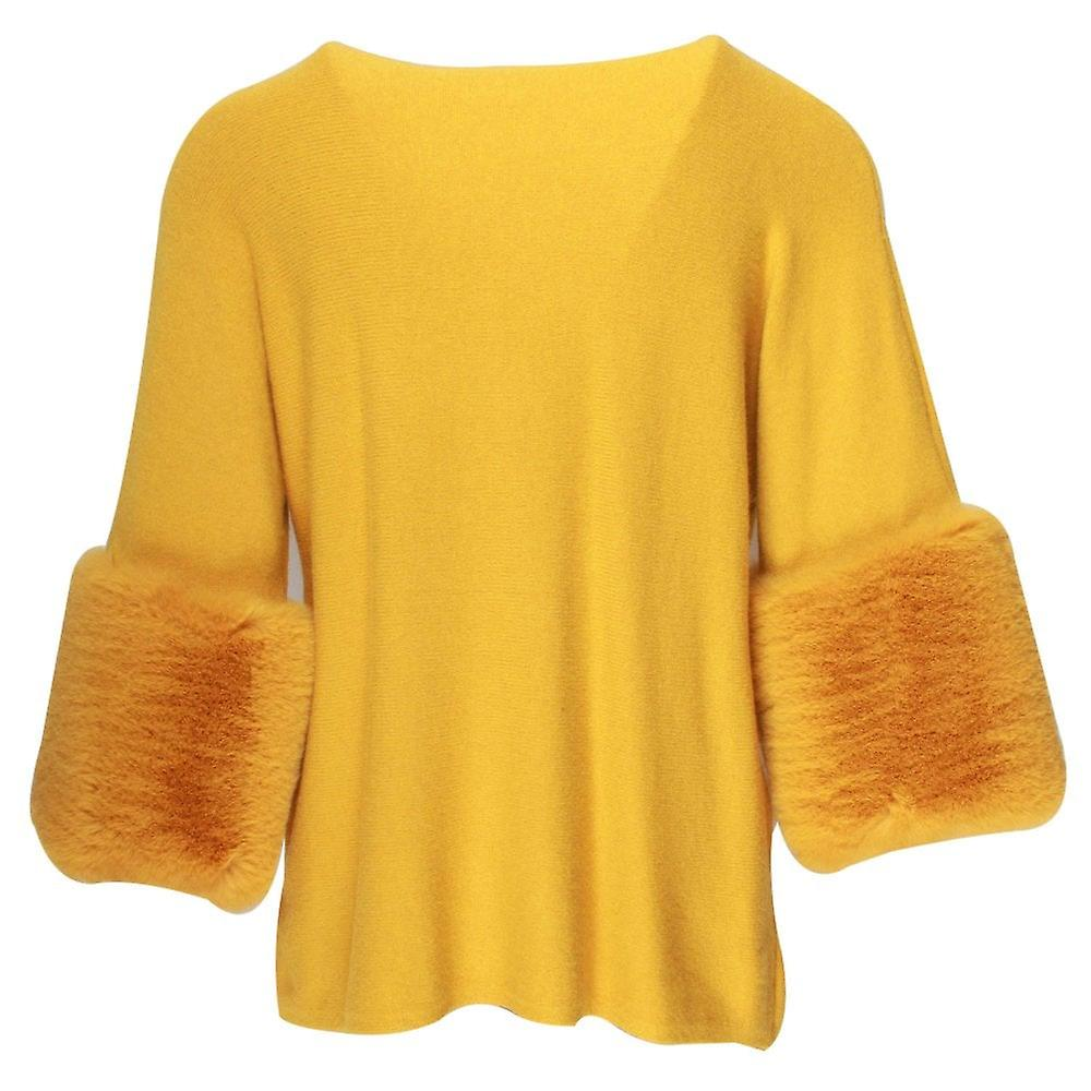Tops With Fur Cuffs: Latte Yellow Knitted Top With Faux Fur Cuffs