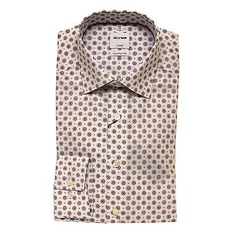 OLYMP Olymp White Brown And Blue Shirt 1018 28