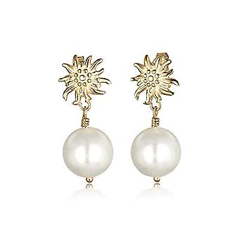 Elli Earrings at Gold Plated Women's Pin with Fake Pearls