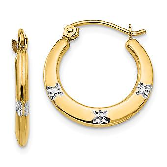 14k Yellow Gold and Rhodium Flowers Hollow Hoop Earrings Measures 18x17mm Wide 3mm Thick Jewelry Gifts for Women