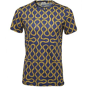 Vivienne Westwood Mercerised Jersey Squiggle Print T-Shirt, Blue/Gold