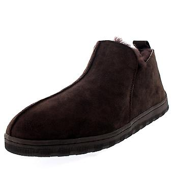Mens Australian Sheepskin Genuine Fur Lined Boot Rubber Sole Slippers UK 6-14