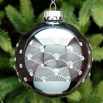 7cm blau Stein Glas Art Deco Design Runde Weihnachtsbaum Bauble