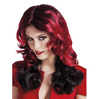 Womens Red Fury Halloween Wig Fancy Dress Accessory