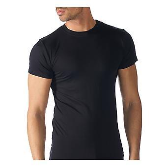 Software Top de manga curta cor preta sólida do Mey 42603-123 homens