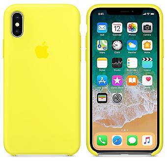 Alkuperäinen pakattu MRG32ZM/A omena silikoni-mikro kuitu kotelo iPhone X-limonadi keltaiselle