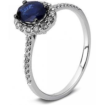 Gemstone Ring Diamonds 0.29ct. Sapphire 0.93 ct. Size 54