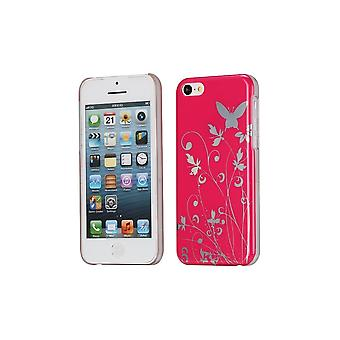 Plastic Shell Pattern Butterflies And Flowers Red Background For Apple IPhone 5c