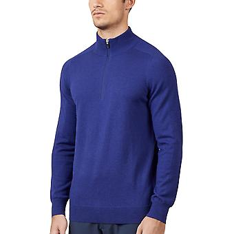 Wolsey Mens Merino 1/4 Zip Pockets Merino Wool Ribbed Golf Sweater
