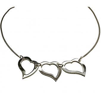 3-faldigt hjärta halsband i 925 silver-45 cm