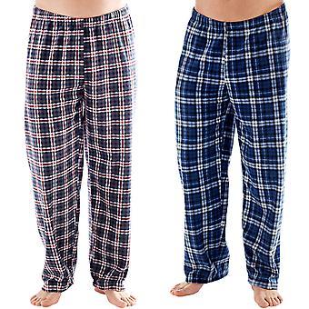 Harvey James miesten ruudullinen lämmin Super pehmeä fleece pyjama pohjat housut