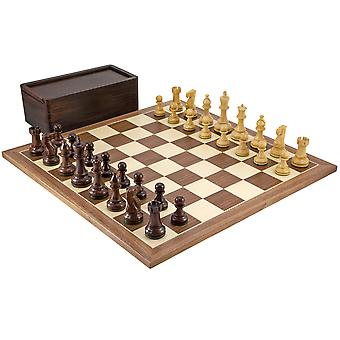 Atlantic Large Rosewood and Walnut Chess Set with Case