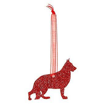 Red German Shepherd Style 5 Glitter  Christmas Decoration