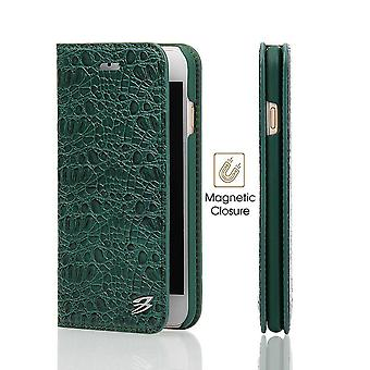 For iPhone SE(2020), 8 & 7  Wallet Case,FierreShann Crocodile Genuine Cow Leather Cover,Green