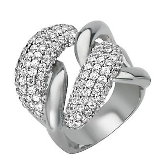 925 Sterling Silver Rhodium Plated Cubic Zirconia Large Curb Link Ring Jewelry Gifts for Women - Ring Size: 6 to 8
